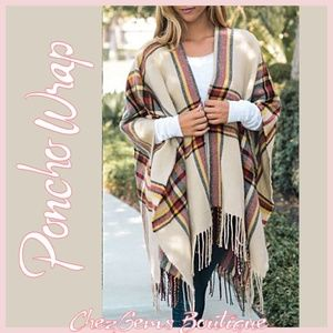 Jackets & Blazers - NWT Cream Plaid Vail Poncho Knitted Wrap Coat OS